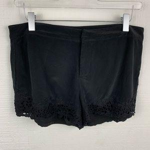 Joie Black Lace Hem Silk Mini Shorts